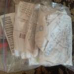 school supplies receipt bag.
